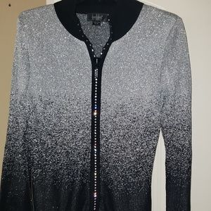 Black and Gray umbre sweater with rhinestones